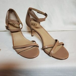Ann Taylor Taupe Leather Sandal Shoe 6 #1335